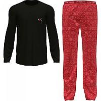 [해외]캘빈클라인 언더웨어 Long Sleeve Set Pants Pyjama Black Top / Star Logo Print Bottom