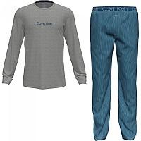 [해외]캘빈클라인 언더웨어 Long Sleeve Set Pants Pyjama Grey Heather Top / Structure Stripe Bottom