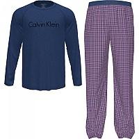 [해외]캘빈클라인 언더웨어 Long Sleeve Set Pants Pyjama Soft Grape Top / Michael Plaid Bottom