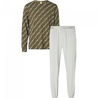 [해외]캘빈클라인 언더웨어 Set Joggers Pyjama Structure Logo Top / Grey Heather Bottom