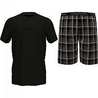 [해외]캘빈클라인 언더웨어 Short Sleeve Shorts Set Pyjama Black Top / Structure Plaid Bottom