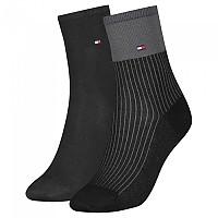 [해외]타미힐피거 Tencel Short Colorblock Socks 2 Pairs Black