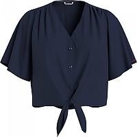 [해외]타미 진 Front Knot Cropped Shirt Short Sleeve Shirt Twilight Navy