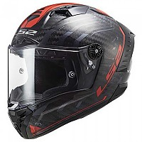 [해외]LS2 FF805 Thunder Carbon Sputnik Full Face Helmet 9137865433 Gloss Metal / Red