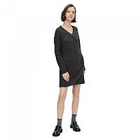 [해외]PIECES Ellen Long Sleeve V Neck Knit Dress Dark Grey Melange