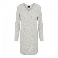 [해외]PIECES Ellen Long Sleeve V Neck Knit Dress Light Grey Melange