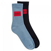 [해외]휴고 QS RIB LAB COL CC Socks 2 Pairs Bright Blue
