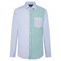 [해외]FA?ONNABLE Contemporary Massena Bengal Stripe Patch Long Sleeve Shirt Blue / Green